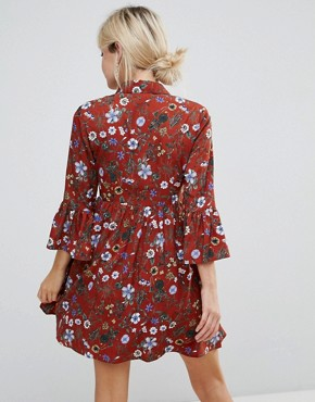 photo Floral Skater Dress with Button Front by Uttam Boutique Petite, color Burgundy - Image 2