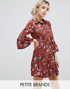 photo Floral Skater Dress with Button Front by Uttam Boutique Petite, color Burgundy - Image 1