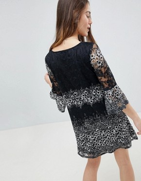 photo Lace Printed Dress by Uttam Boutique Petite, color Black & White - Image 2