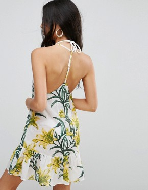 photo Lily Print Simple T Back Beach Dress by ASOS, color Lily Print - Image 2