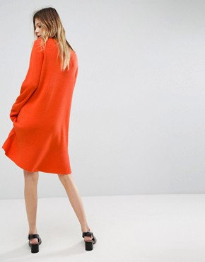 photo Knitted Dress with Frill Hem by ASOS, color Orange - Image 2