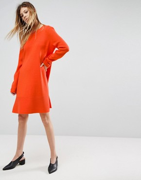 photo Knitted Dress with Frill Hem by ASOS, color Orange - Image 1