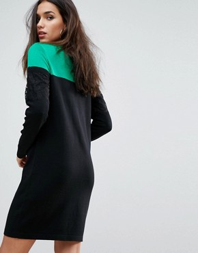photo Knitted Mini Dress in Colourblock with Lace by ASOS, color Multi - Image 2