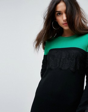 photo Knitted Mini Dress in Colourblock with Lace by ASOS, color Multi - Image 3