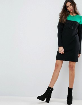 photo Knitted Mini Dress in Colourblock with Lace by ASOS, color Multi - Image 4