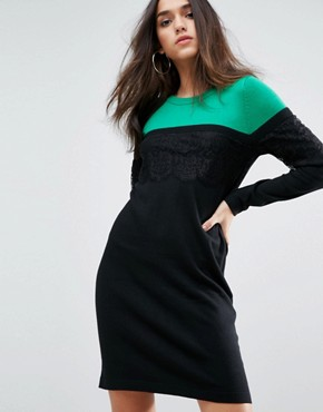 photo Knitted Mini Dress in Colourblock with Lace by ASOS, color Multi - Image 1