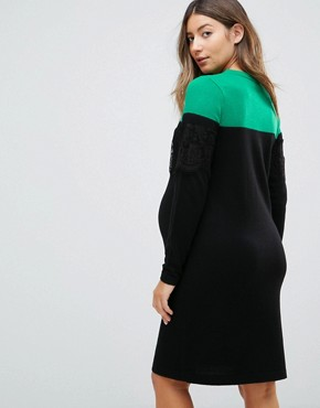 photo Knitted Mini Dress in Colourblock with Lace by ASOS Maternity, color Multi - Image 2