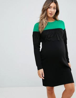 photo Knitted Mini Dress in Colourblock with Lace by ASOS Maternity, color Multi - Image 1