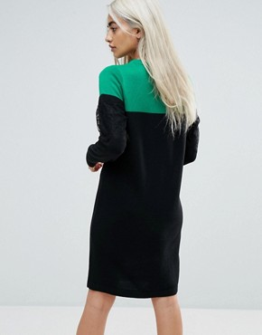 photo Knitted Mini Dress in Colourblock with Lace by ASOS PETITE, color Multi - Image 2