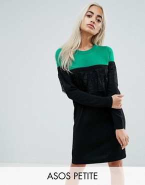 photo Knitted Mini Dress in Colourblock with Lace by ASOS PETITE, color Multi - Image 1