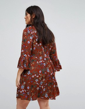 photo Floral Skater Dress with Button Front by Uttam Boutique Plus, color Burgundy - Image 2