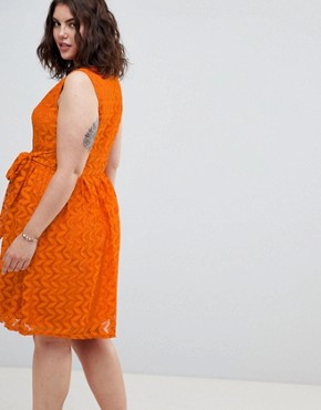 photo Lace Midi Dress by Uttam Boutique Plus, color Rust - Image 2