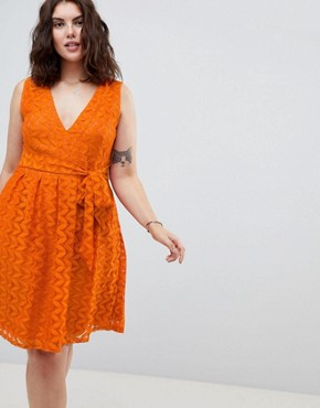 photo Lace Midi Dress by Uttam Boutique Plus, color Rust - Image 1