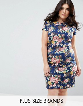 photo Floral Pencil Dress with Ruched Side by Uttam Boutique Plus, color Navy - Image 1