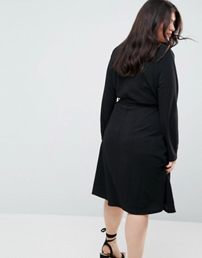 photo Long Sleeve Belted Wrap Dress by Uttam Boutique Plus, color Black - Image 2