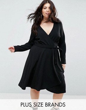 photo Long Sleeve Belted Wrap Dress by Uttam Boutique Plus, color Black - Image 1