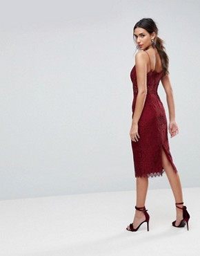 photo Lace Cami Midi Pencil Dress by ASOS, color Oxblood - Image 2