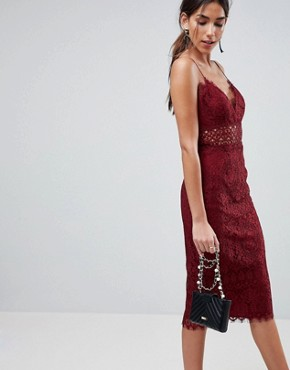 photo Lace Cami Midi Pencil Dress by ASOS, color Oxblood - Image 1