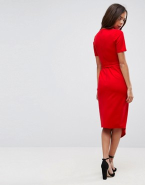 photo Midi Wrap Dress with Belt by ASOS PETITE, color Red - Image 2