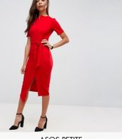 photo Midi Wrap Dress with Belt by ASOS PETITE, color Red - Image 1