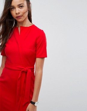 photo Midi Wrap Dress with Belt by ASOS PETITE, color Red - Image 3