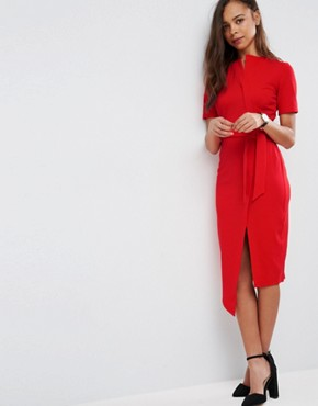 photo Midi Wrap Dress with Belt by ASOS PETITE, color Red - Image 4
