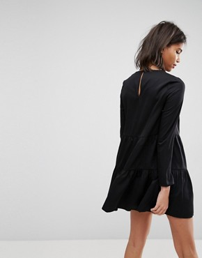 photo Pleated Front Tiered Hem Shift Mini Dress by ASOS, color Black - Image 2