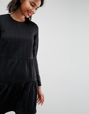 photo Pleated Front Tiered Hem Shift Mini Dress by ASOS, color Black - Image 3