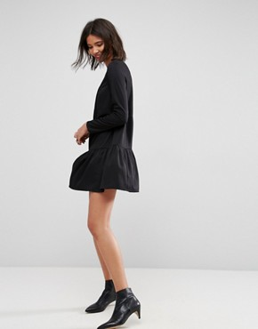 photo Pleated Front Tiered Hem Shift Mini Dress by ASOS, color Black - Image 4
