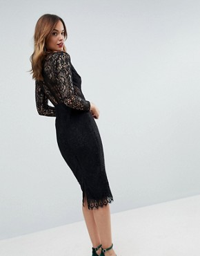 photo Long Sleeve Lace Midi Pencil Dress by ASOS, color Black - Image 2