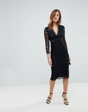 photo Long Sleeve Lace Midi Pencil Dress by ASOS, color Black - Image 1
