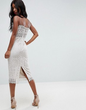 photo Lace Cami Midi Pencil Dress by ASOS, color Off White - Image 2