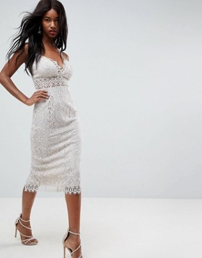 photo Lace Cami Midi Pencil Dress by ASOS, color Off White - Image 1