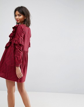 photo Gingham Smock Dress with Ruffles by ASOS ULTIMATE, color Multi - Image 2