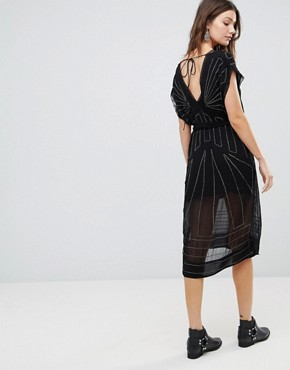photo Daisy Embellished Midi Dress by Free People, color Black - Image 2