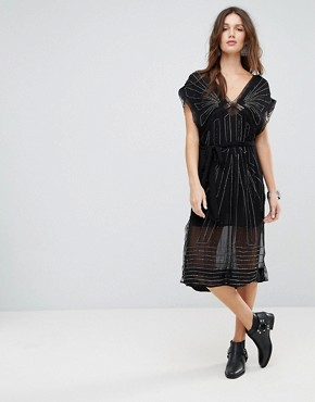 photo Daisy Embellished Midi Dress by Free People, color Black - Image 1