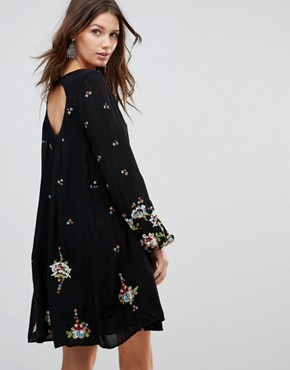 photo Oxford Embroidered Mini Dress by Free People, color Black Combo - Image 2