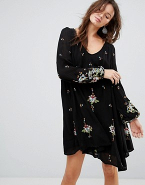 photo Oxford Embroidered Mini Dress by Free People, color Black Combo - Image 1