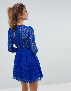 photo Long Sleeve Lace Mini Prom Dress by ASOS, color Cobalt - Image 2