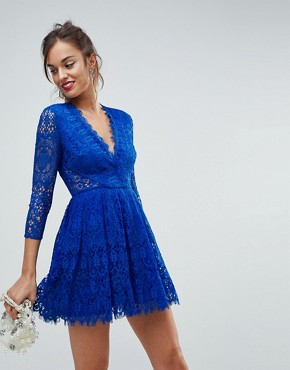 photo Long Sleeve Lace Mini Prom Dress by ASOS, color Cobalt - Image 1