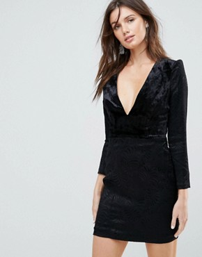 photo Naomi Shoulder Padded Velvet Mini Dress by Free People, color Black - Image 1