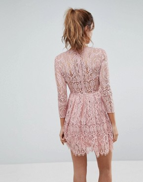 photo Long Sleeve Lace Mini Prom Dress by ASOS, color Dusty Pink - Image 2