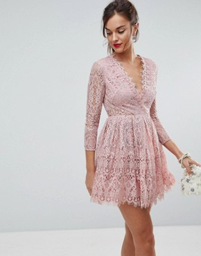photo Long Sleeve Lace Mini Prom Dress by ASOS, color Dusty Pink - Image 1