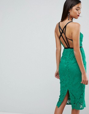 photo Geo Lace Sexy Pencil Midi Dress by ASOS, color Emerald Green - Image 2
