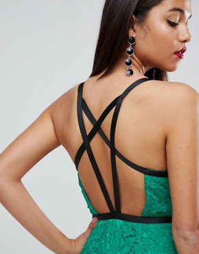 photo Geo Lace Sexy Pencil Midi Dress by ASOS, color Emerald Green - Image 3