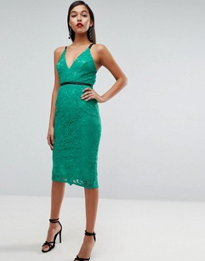 photo Geo Lace Sexy Pencil Midi Dress by ASOS, color Emerald Green - Image 4