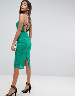 photo Geo Lace Sexy Pencil Midi Dress by ASOS, color Emerald Green - Image 1