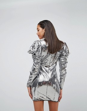 photo Embellished Disco Ball Drape Sleeve Mini Dress by ASOS, color Silver - Image 2