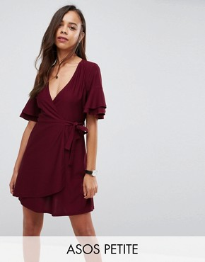 photo Mini Wrap Dress with Double Flutter Sleeve by ASOS PETITE, color Oxblood - Image 1