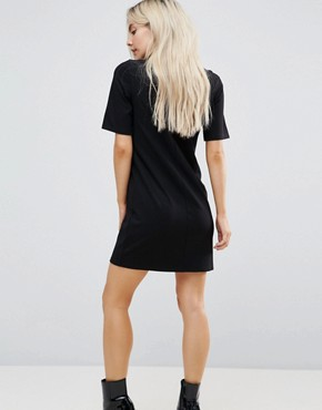 photo T-Shirt Mini Dress with Faux Leather Collar by ASOS PETITE, color Black - Image 2